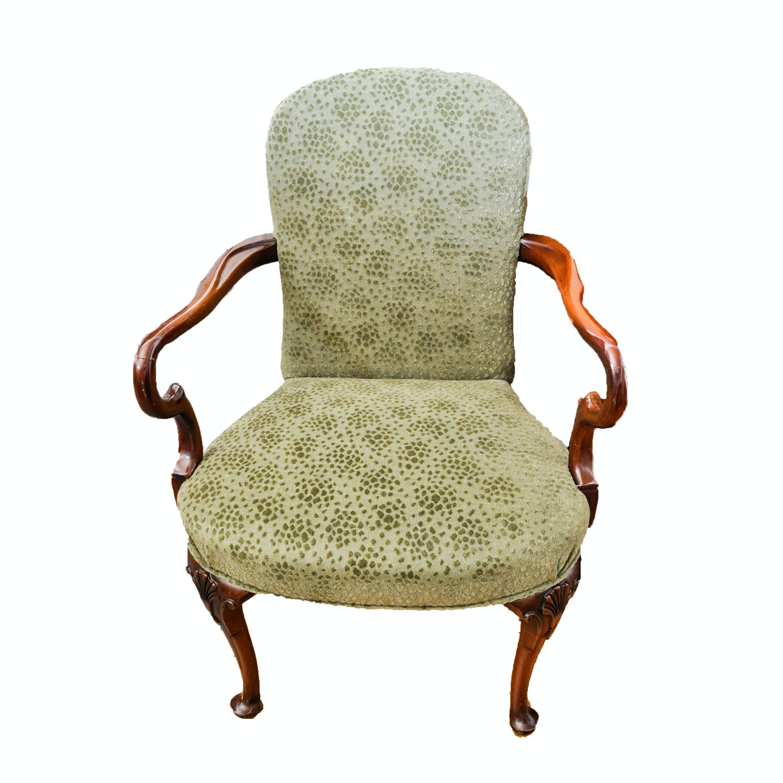 Vintage Mahogany Queen Anne Style Armchair