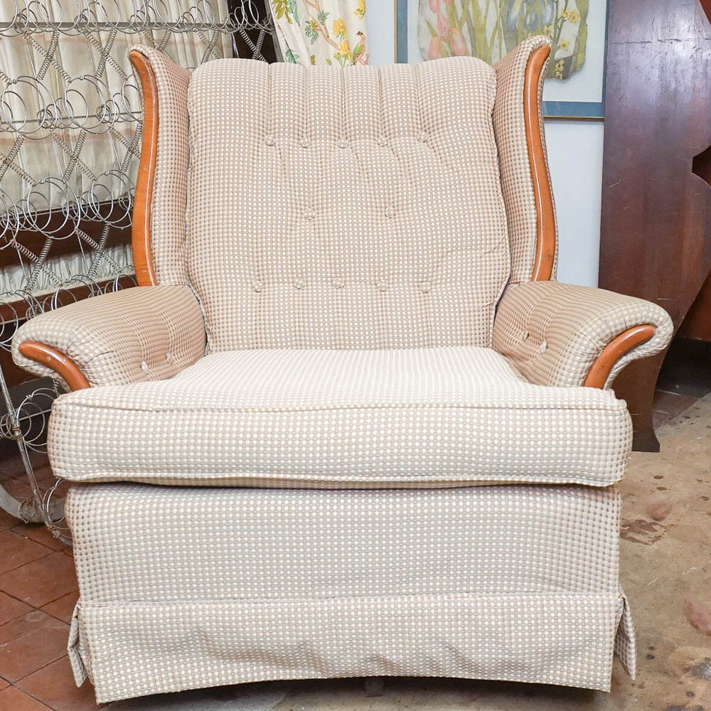 Vintage Upholstered Swivel Wingback Chair