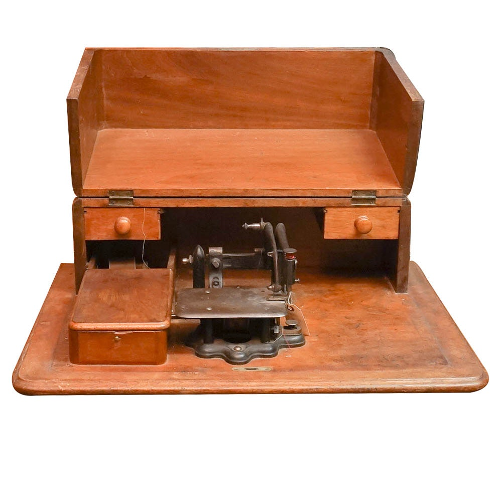 Antique Sewing Machine in Wood Box