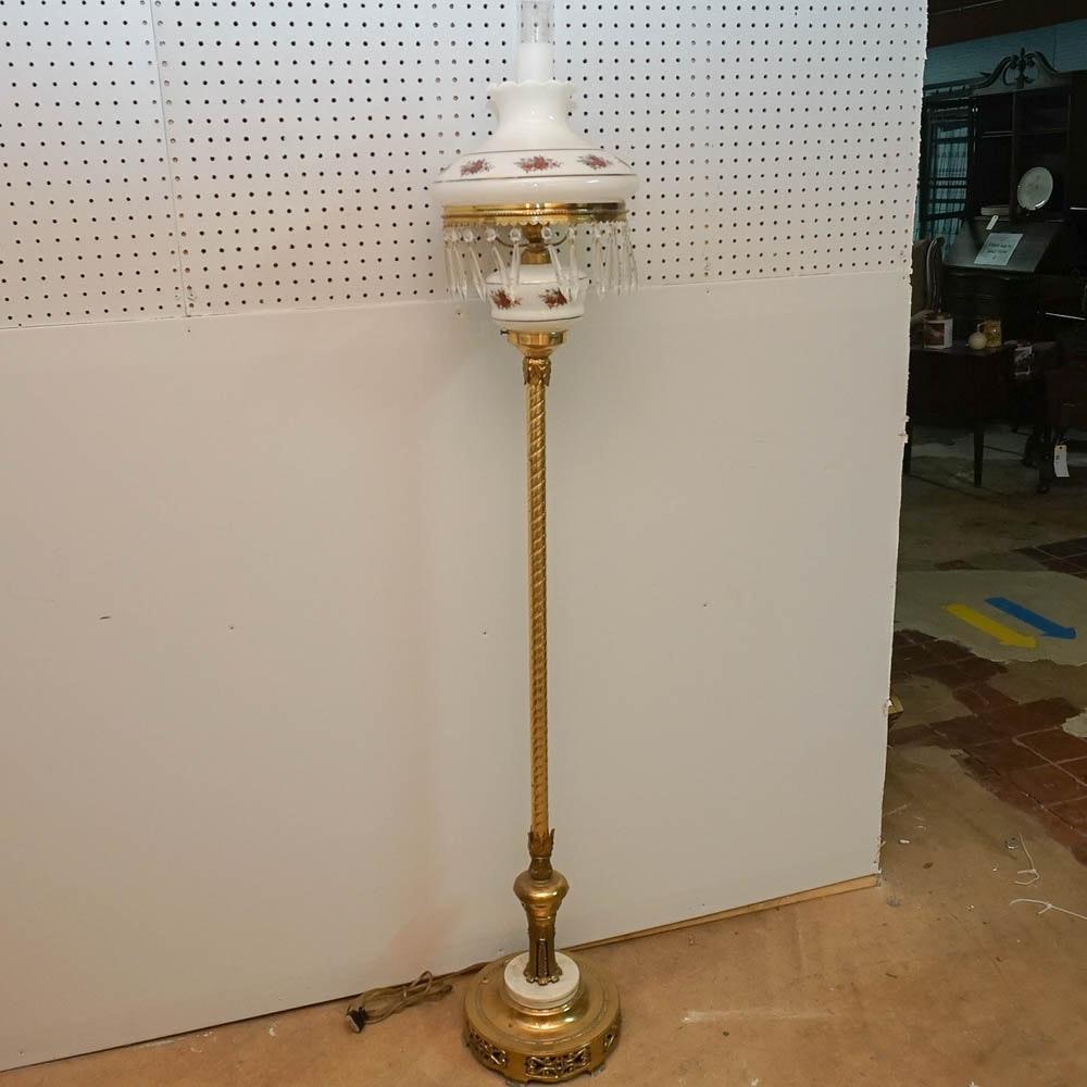 Hurricane Porcelain and Brass Floor Lamp