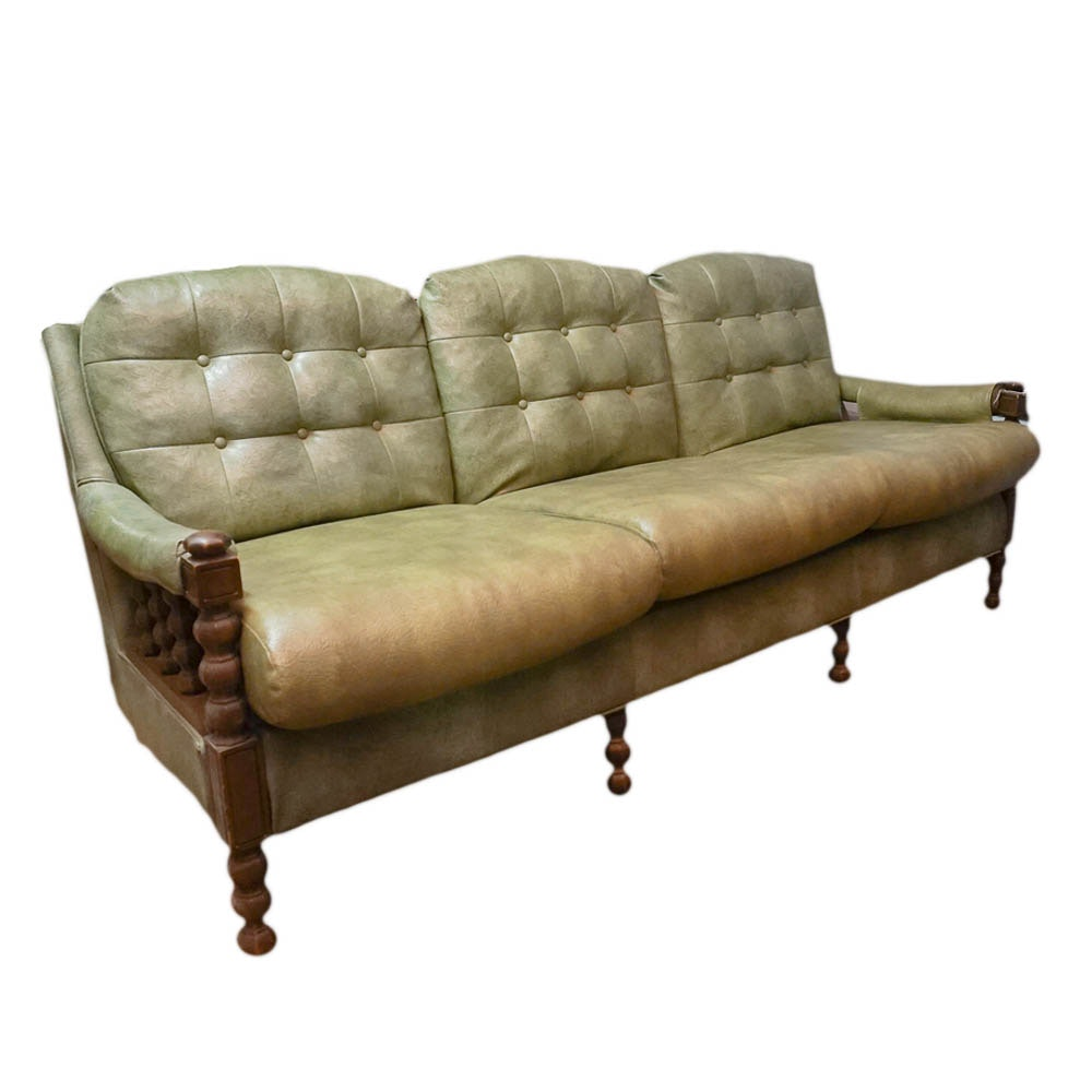 Mid Century Green Vinyl Sofa