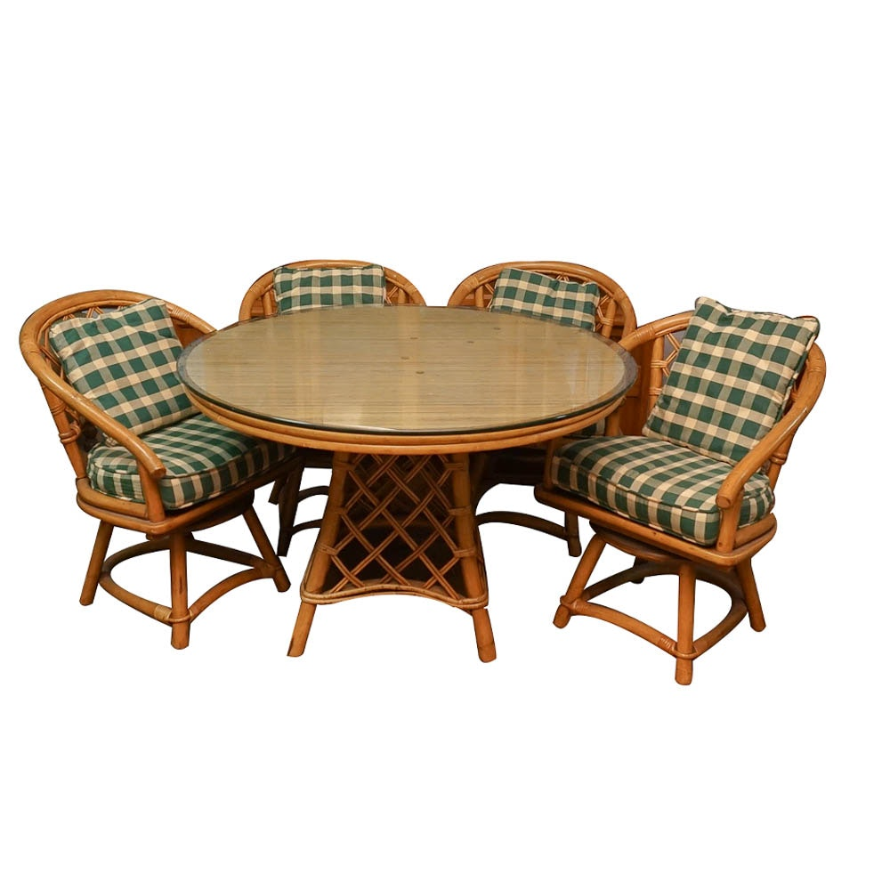 Vintage Rattan Dining Table with Chairs and Side Table