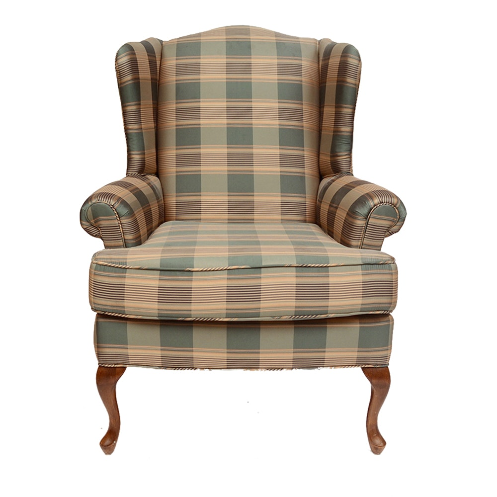 Queen Anne Style Green Plaid Upholstered Wing Chair ...