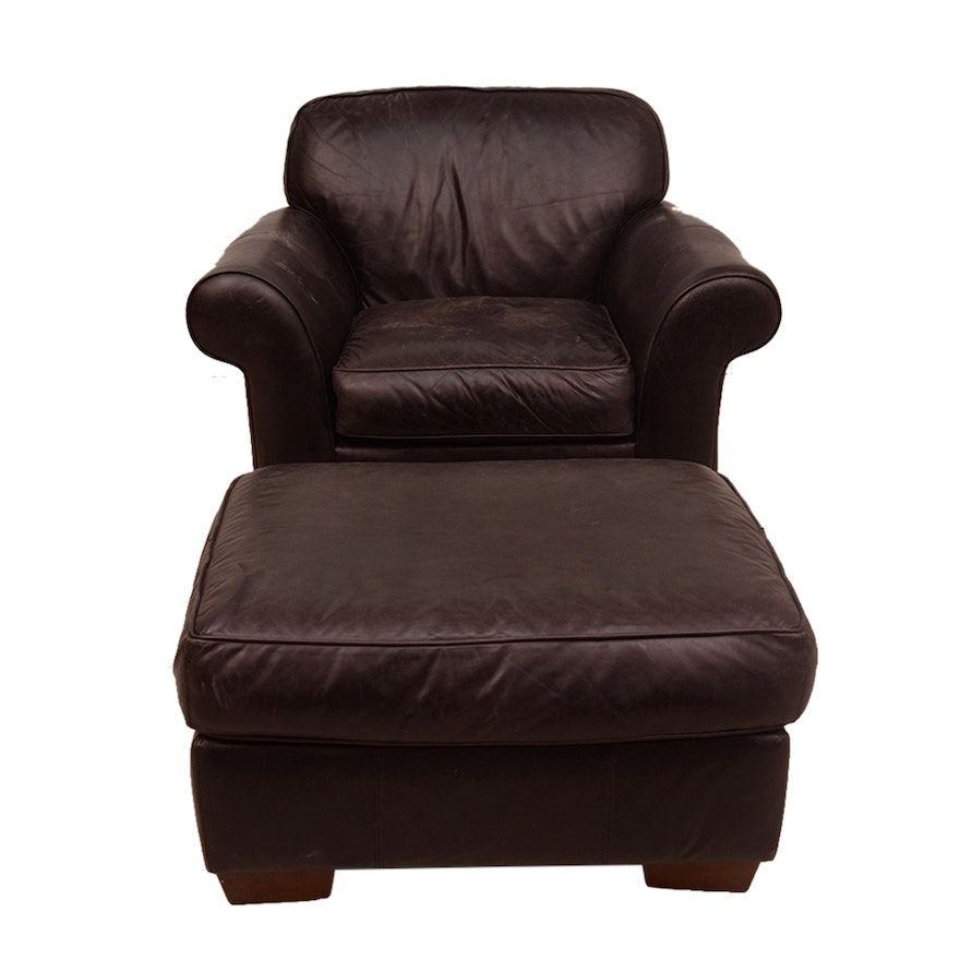 brown leather club chair and ottoman by bauhaus ebth. Black Bedroom Furniture Sets. Home Design Ideas
