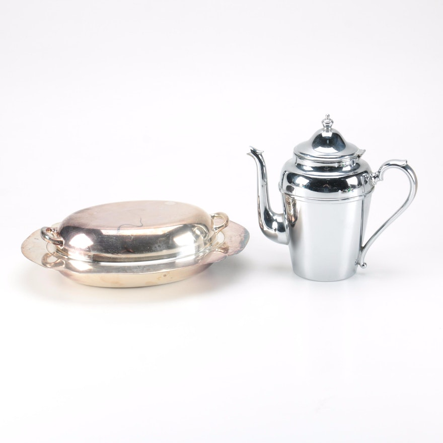 Middletown Silver Co Vegetable Dish And Cromwell Teapot Ebth