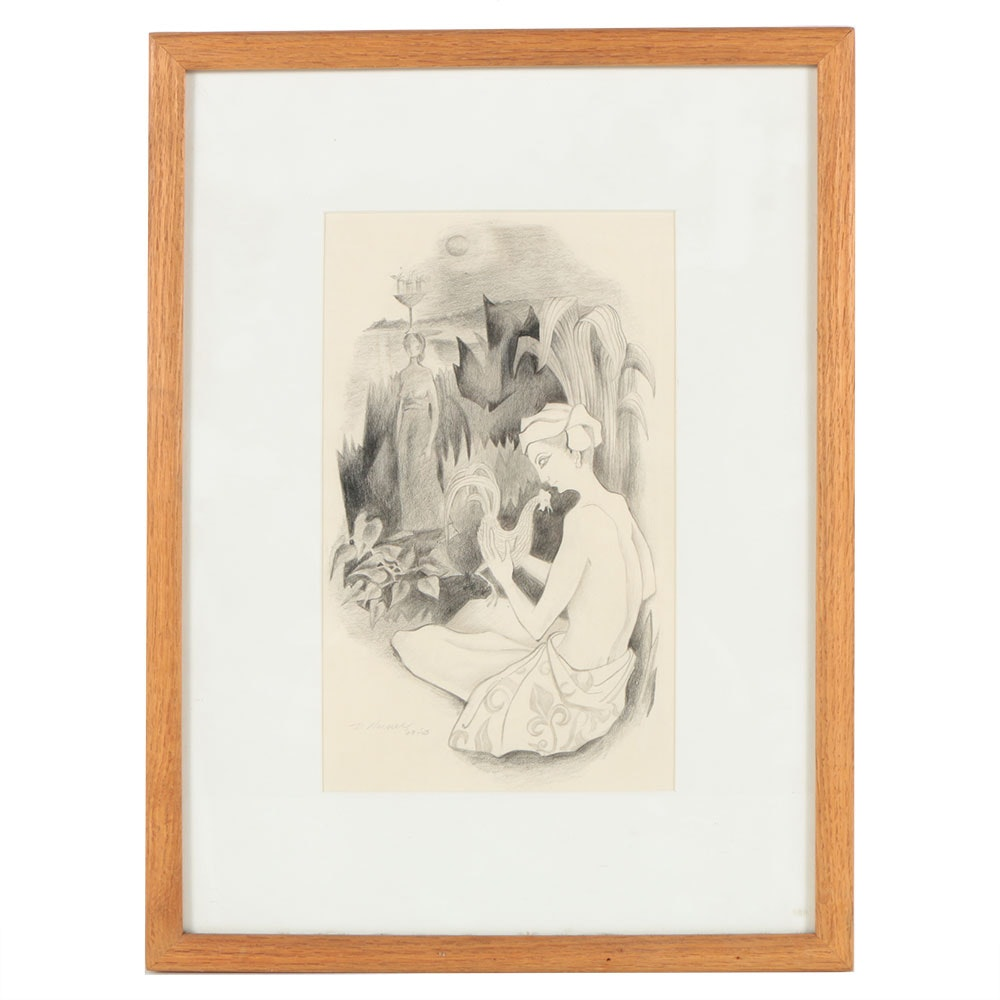Don Werner Graphite Drawing on Paper of Figurative Scene