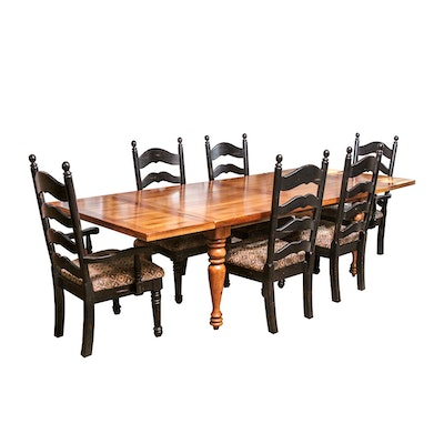 Farmhouse Style Dining Table With Ladderback Chairs
