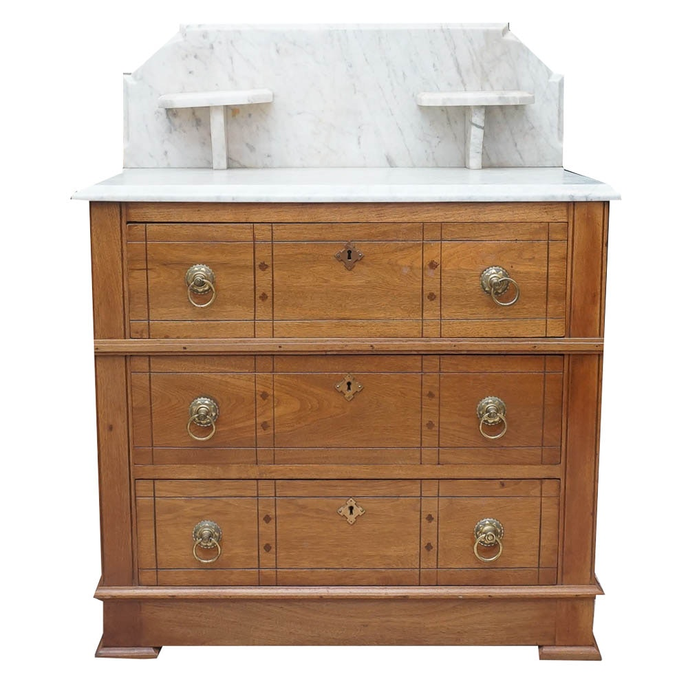 Antique Eastlake Style Chest of Drawers with Marble Top