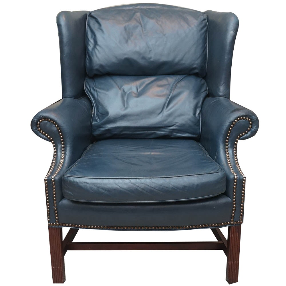 Blue Leather Wingback Armchair by Classic Leather