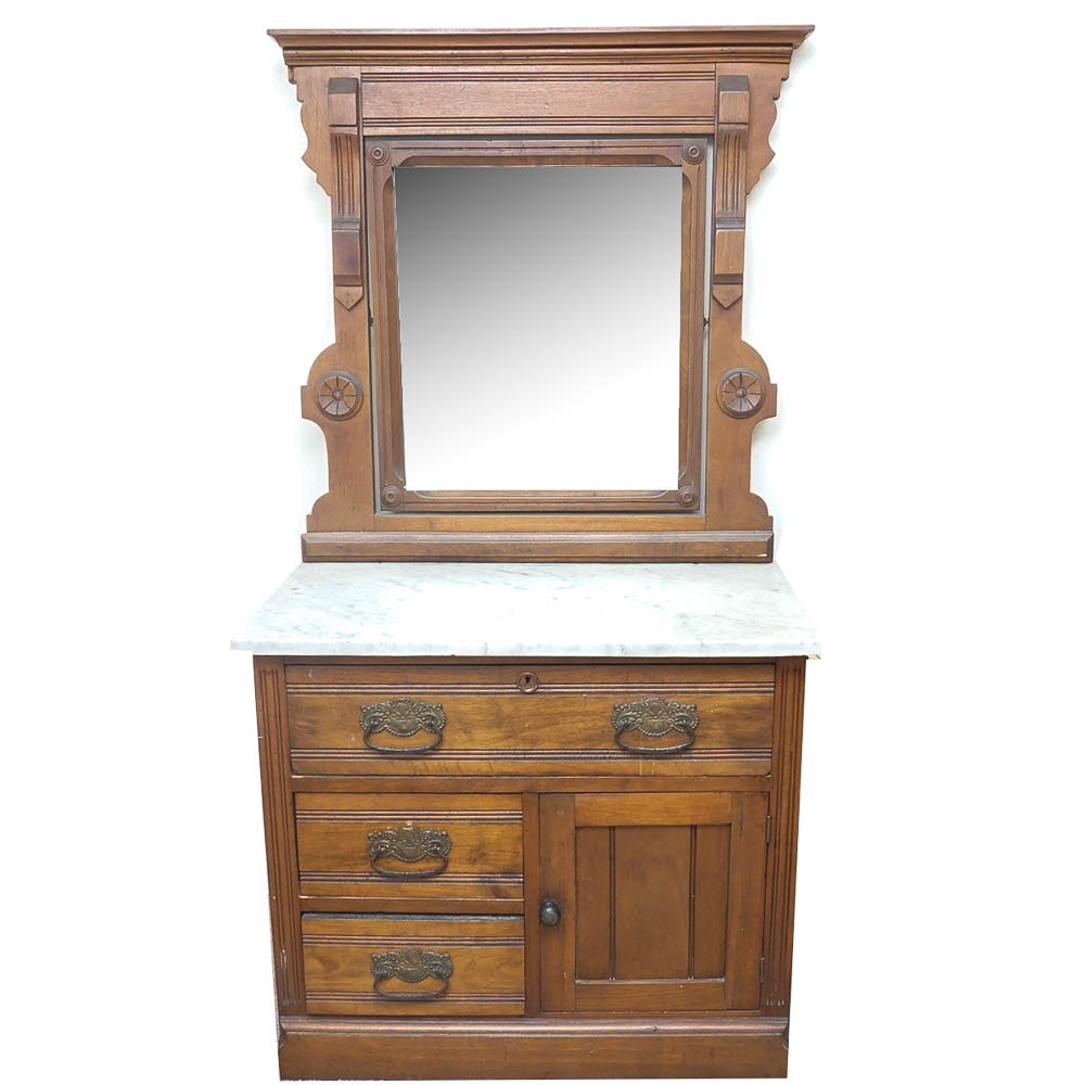 Eastlake Style Marble Top Washstand with Mirror
