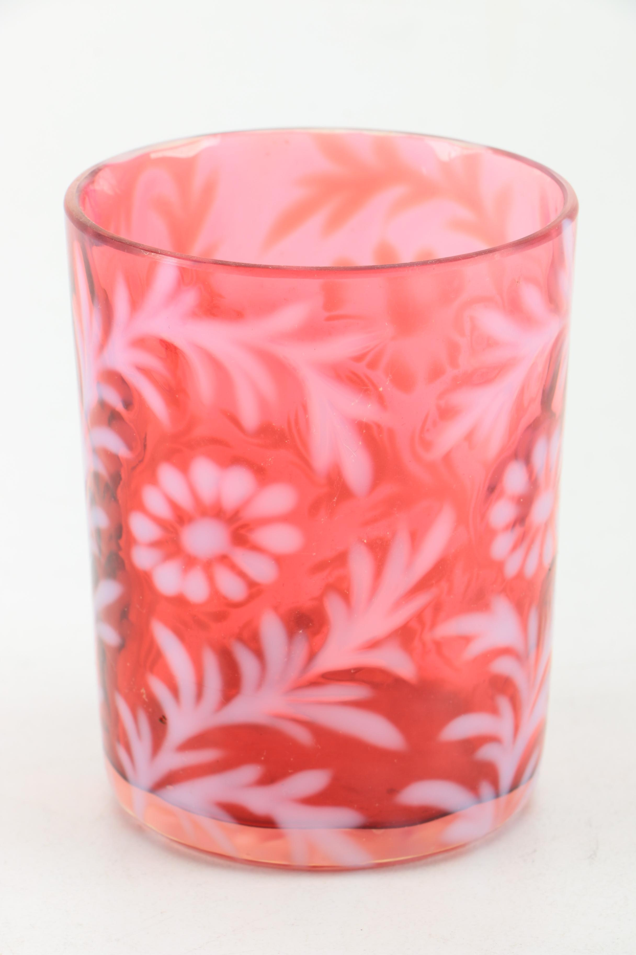 "Northwood Auto Sales >> Antique Cranberry and Opalescent Glass ""Daisy and Fern"" Pitcher and Tumblers : EBTH"