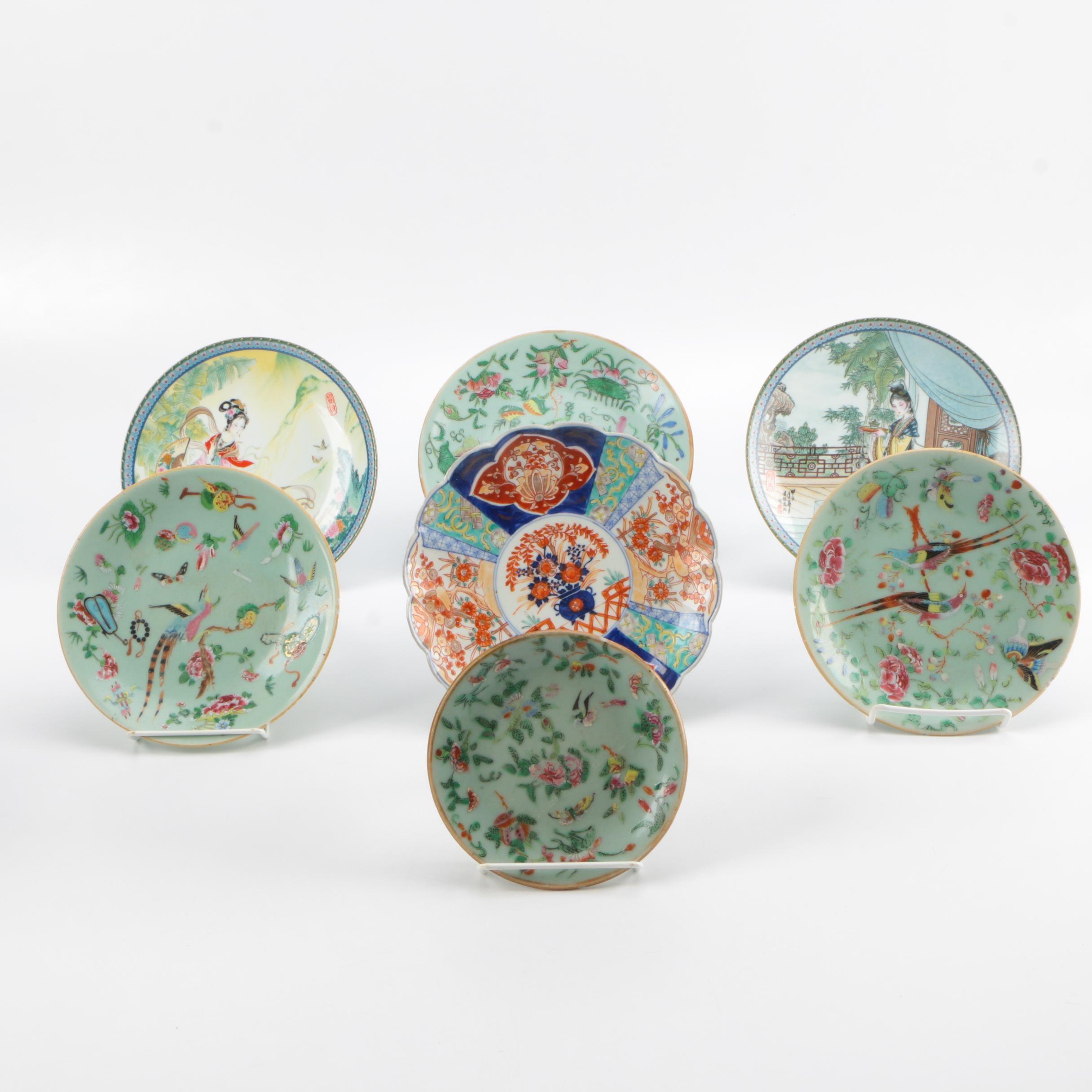 Assortment of East Asian Ceramic Plates Including Imperial Jingdezhen