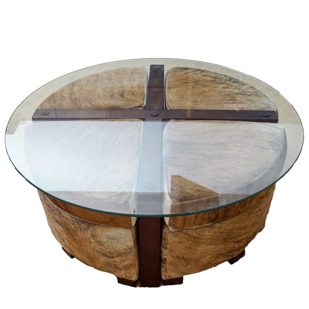 Glass Coffee Table With Cowhide Upholstered Stools By Creative Leather  Furniture ...