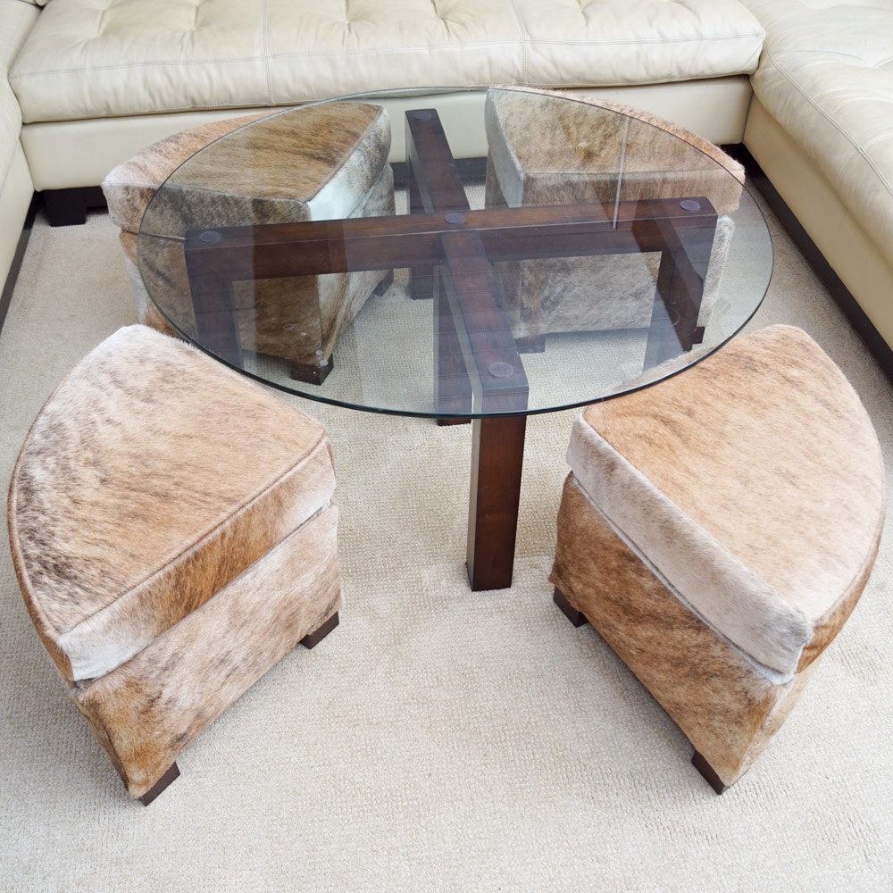 Glass Coffee Table With Cowhide Upholstered Stools By Creative Leather Furniture Ebth