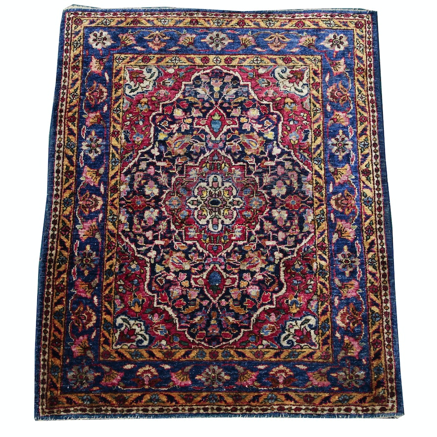 Hand Knotted Persian Wool Area Rug Ebth: Persian Hand-Knotted Kashan Silk And Wool Area Rug : EBTH