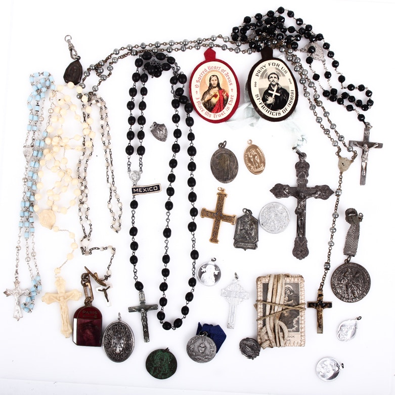 Assortment of Vintage Religious Collectibles