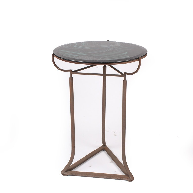 Deco Style Metal Table with Black and Green Glass Top