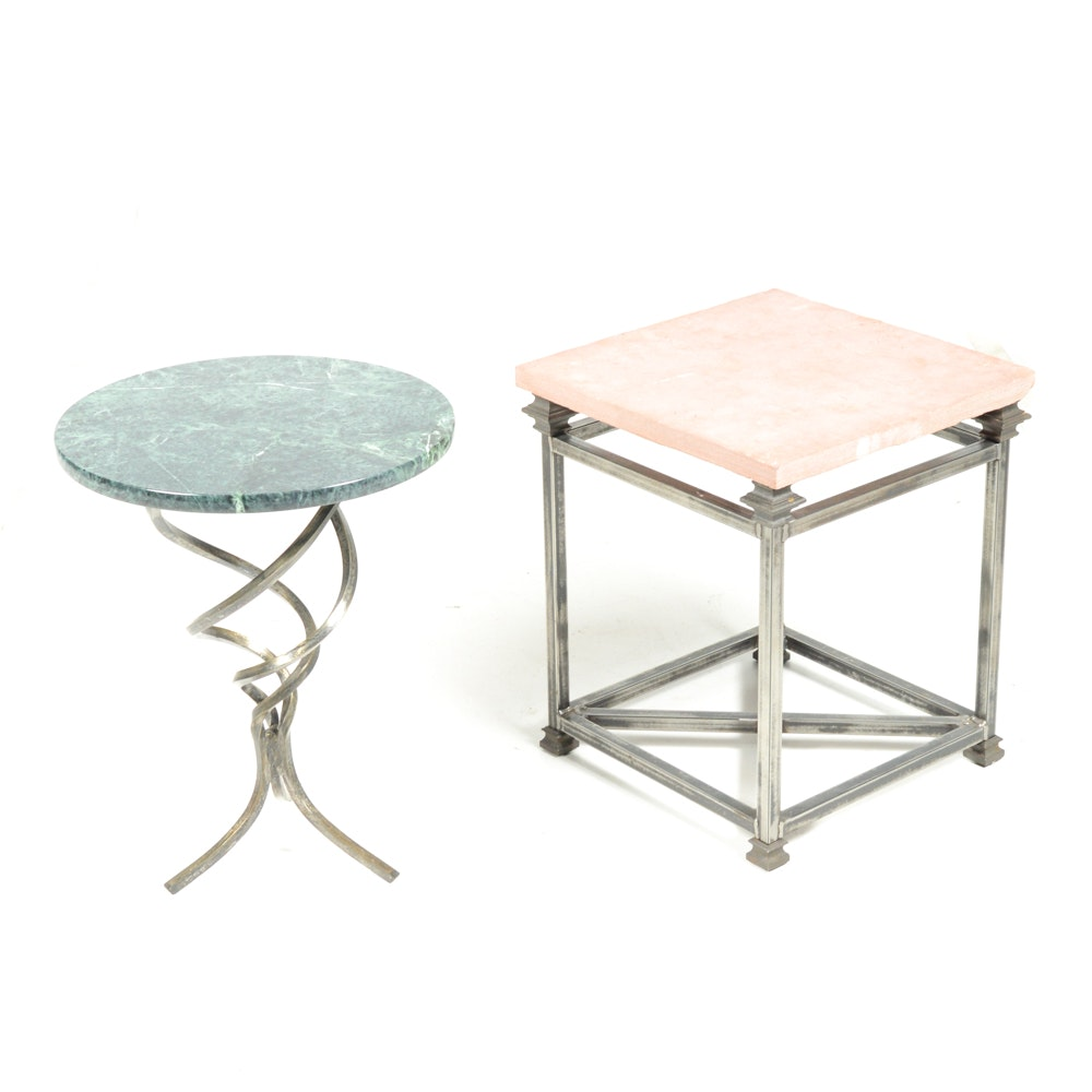 Steel and Stone Accent Tables