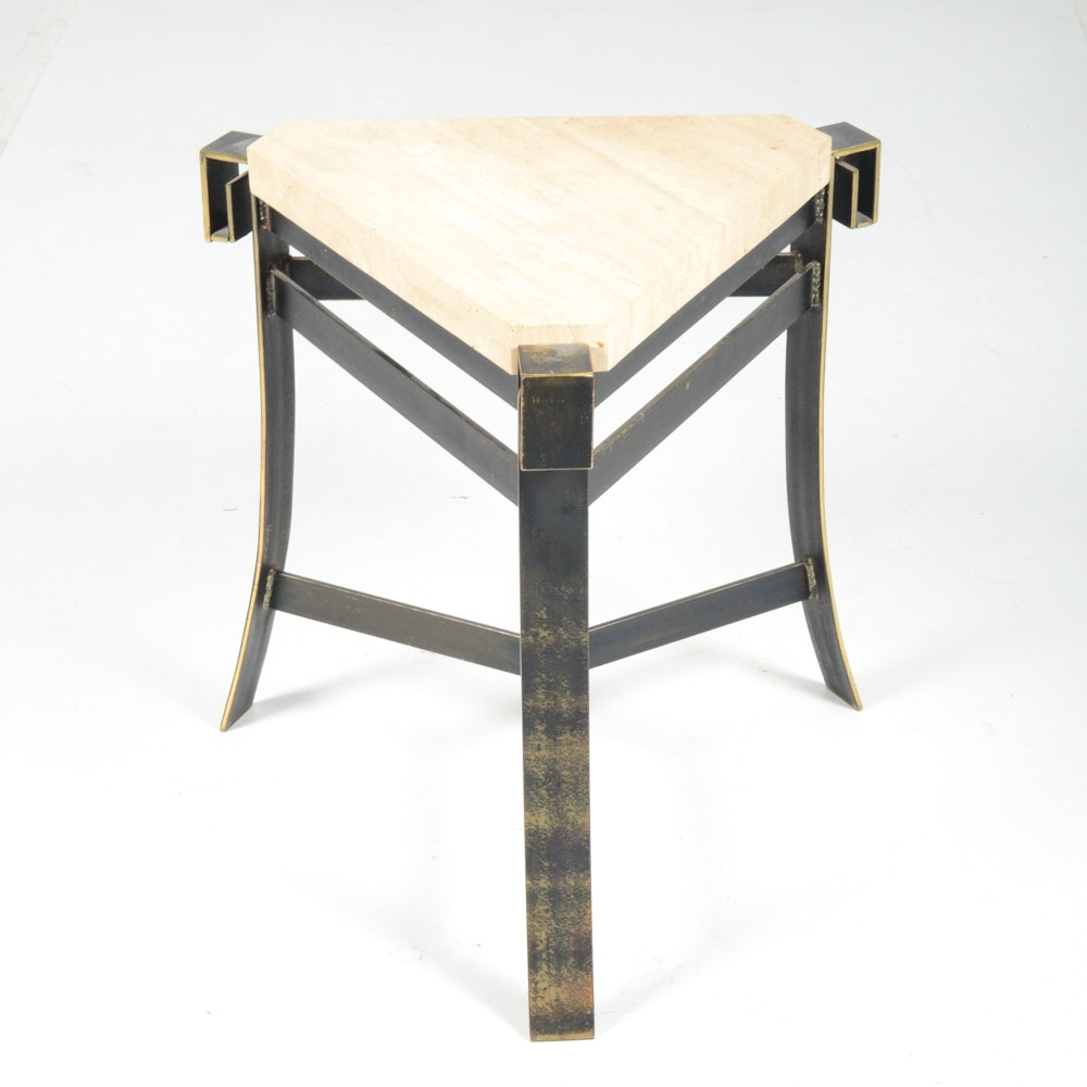 Travertine Marble Side Table