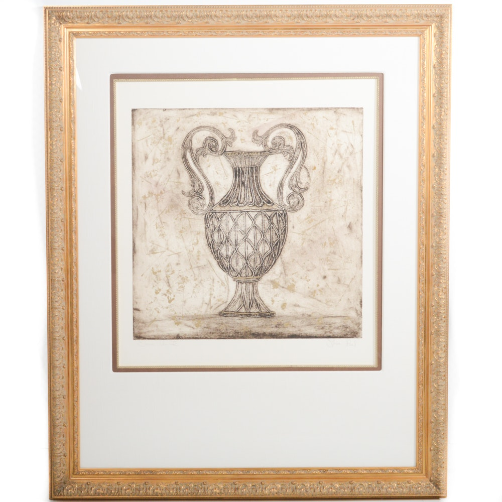 "Lauren Paul Mixed Media Monoprint ""Grecian Urn II"""