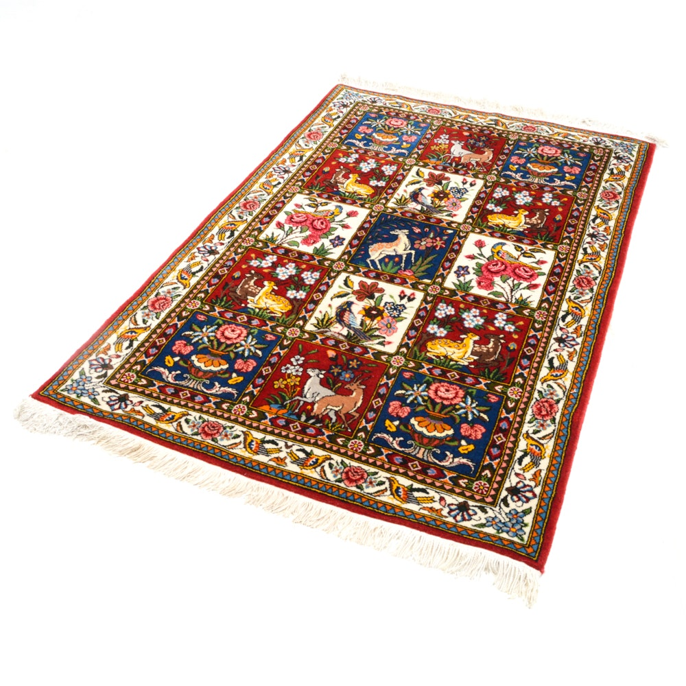 Hand-Knotted Persian Pictorial Garden Compartment Accent Rug