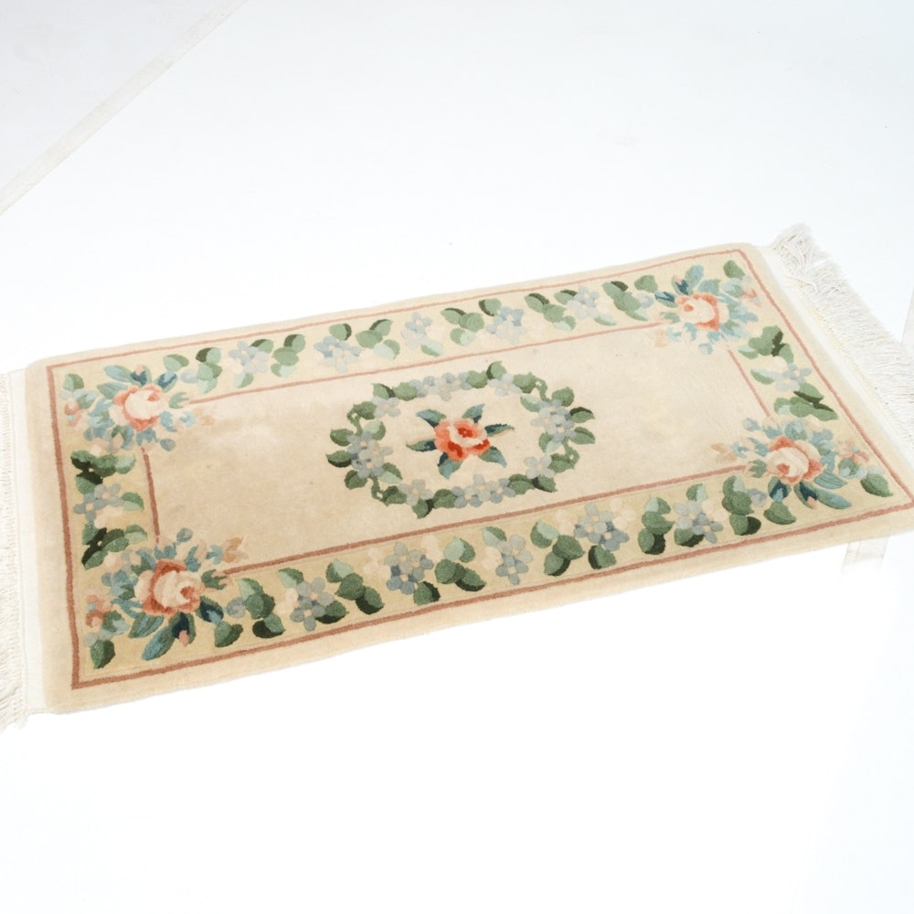 Hand Knotted Chinese Sculpted Wool Accent Rug