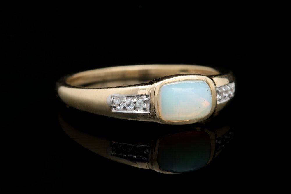 14K Yellow Gold Opal and White Sapphire Ring