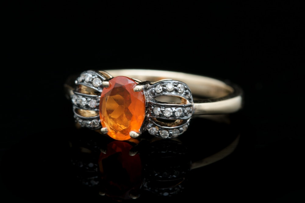 14K Yellow Gold Fire Opal and Brown Diamond Ring