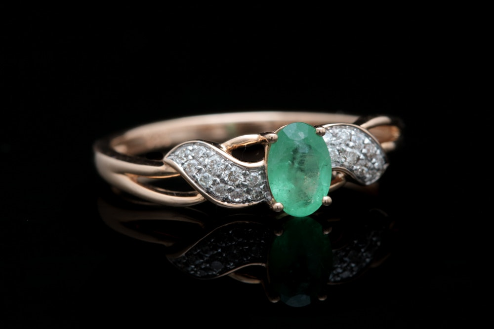 14K Rose Gold Emerald and Diamond Ring