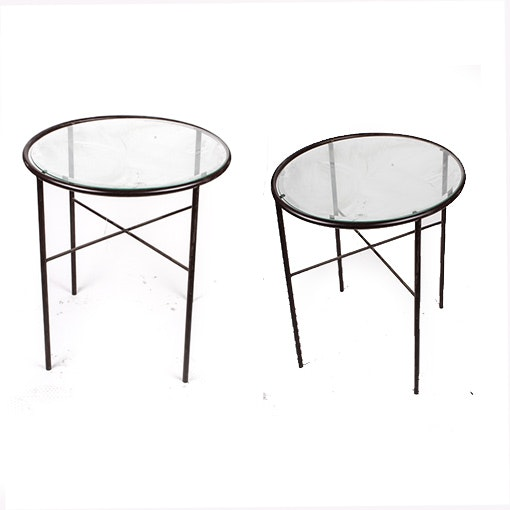 Pair of Modernist Round Metal Side Tables