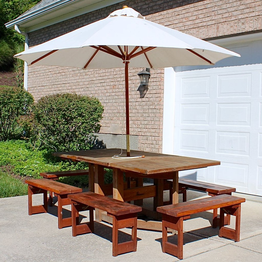 Admirable Redwood Drop Leaf Patio Table With Six Benches Canvas Umbrella Bralicious Painted Fabric Chair Ideas Braliciousco