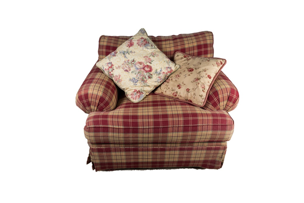 Red Plaid Club Chair and Ottoman