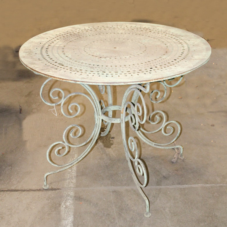 Round Green Patio Table with Stamped Out Design