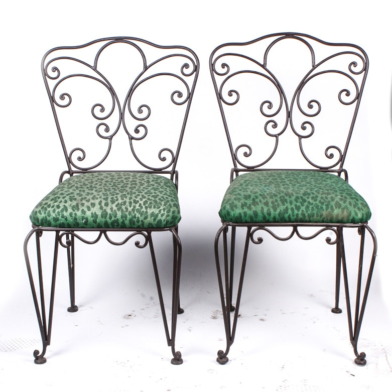Pair of Scrolled Metal Chairs with Green and Black Cheetah Print Fabric