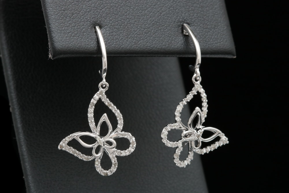10K White Gold Diamond Butterfly Earrings EBTH