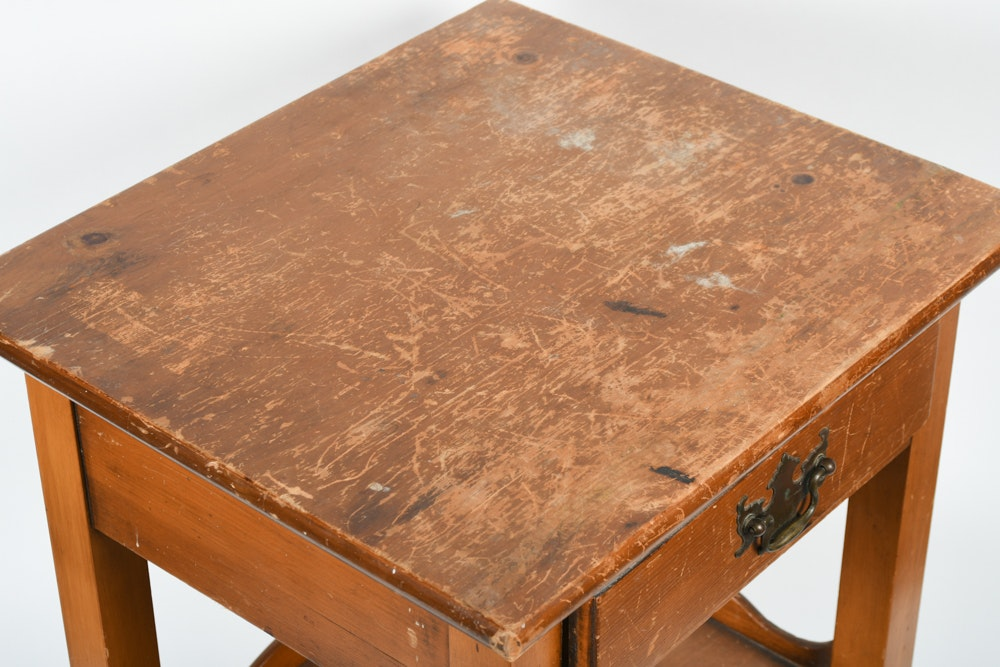 Vintage one drawer side table ebth for Transmutation table 85 items