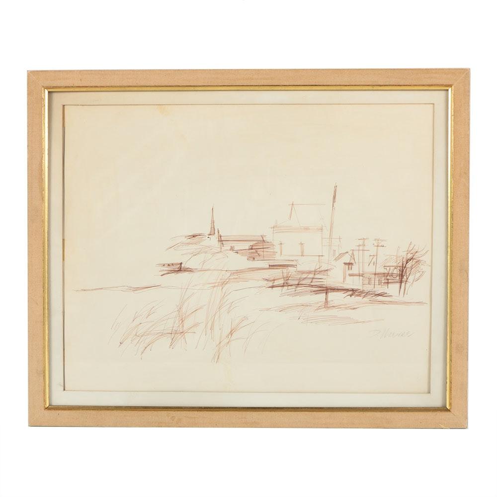 Don Werner Ink on Paper Landscape