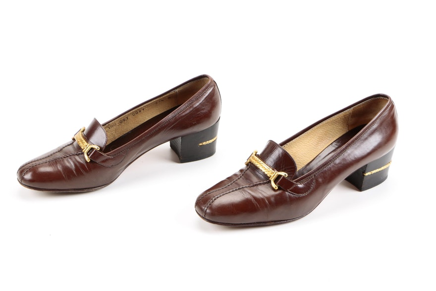 1051b56acad Women39s Vintage Gucci Heeled Loafers Ebth