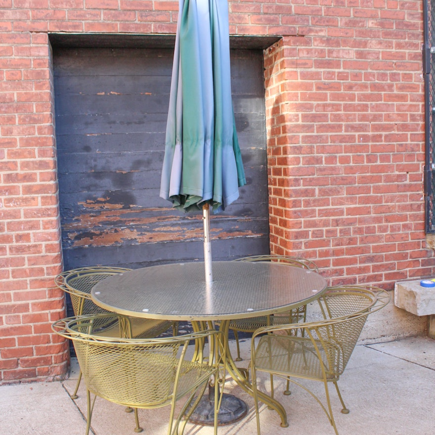 Vintage Green Wrought Iron Patio Table And Chairs By Woodard Ebth