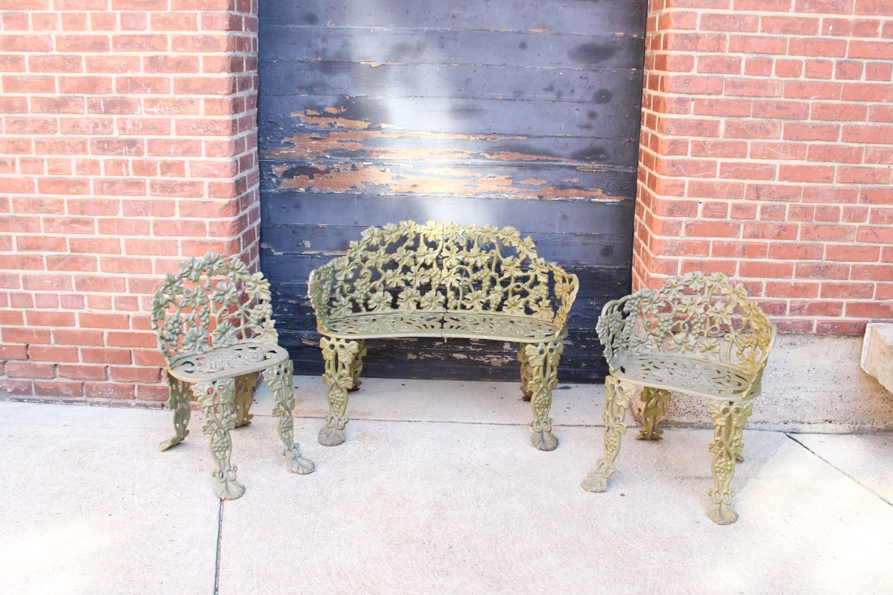 Vintage Iron Bench and Chairs