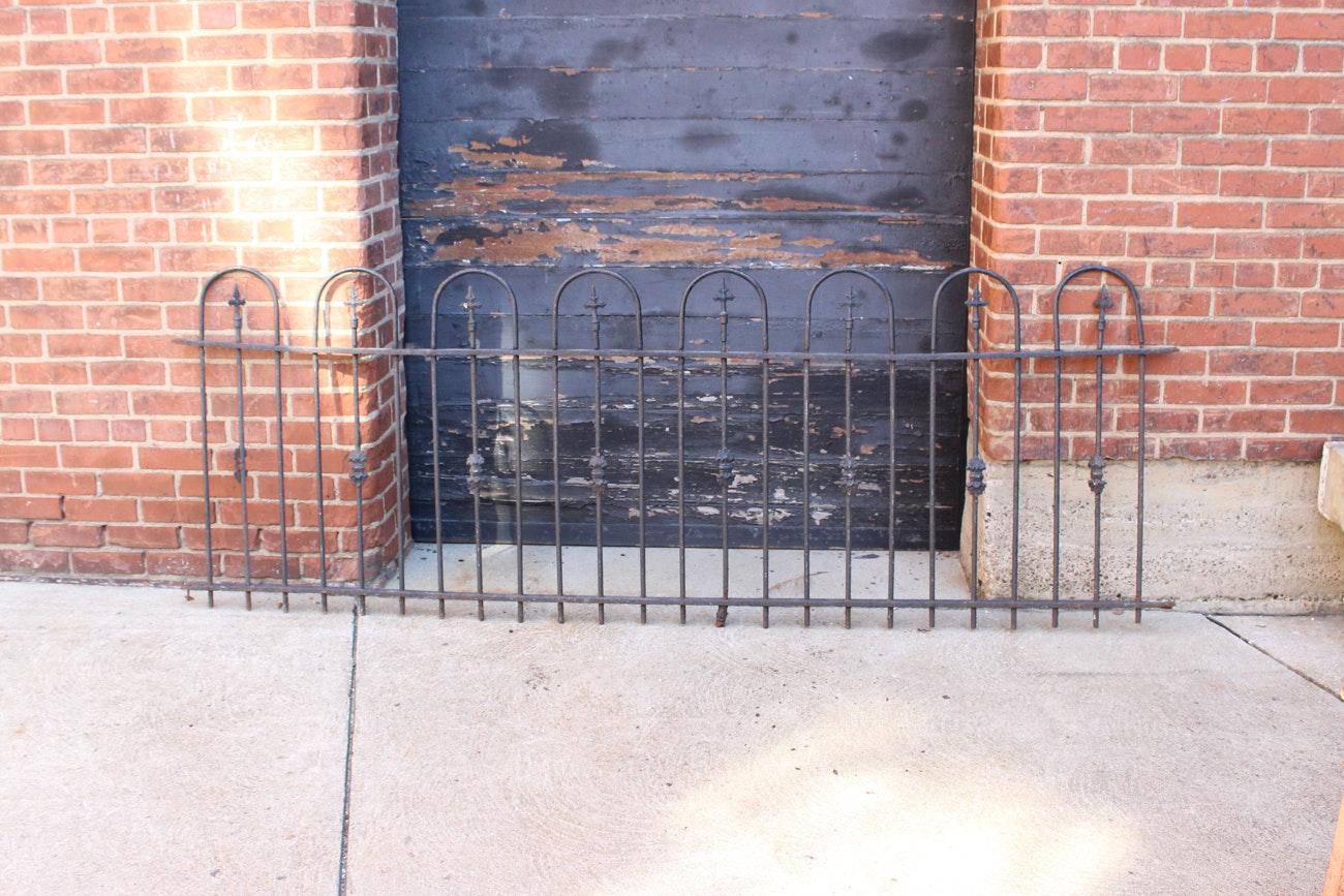 Large Antique Wrought Iron Fence Segment