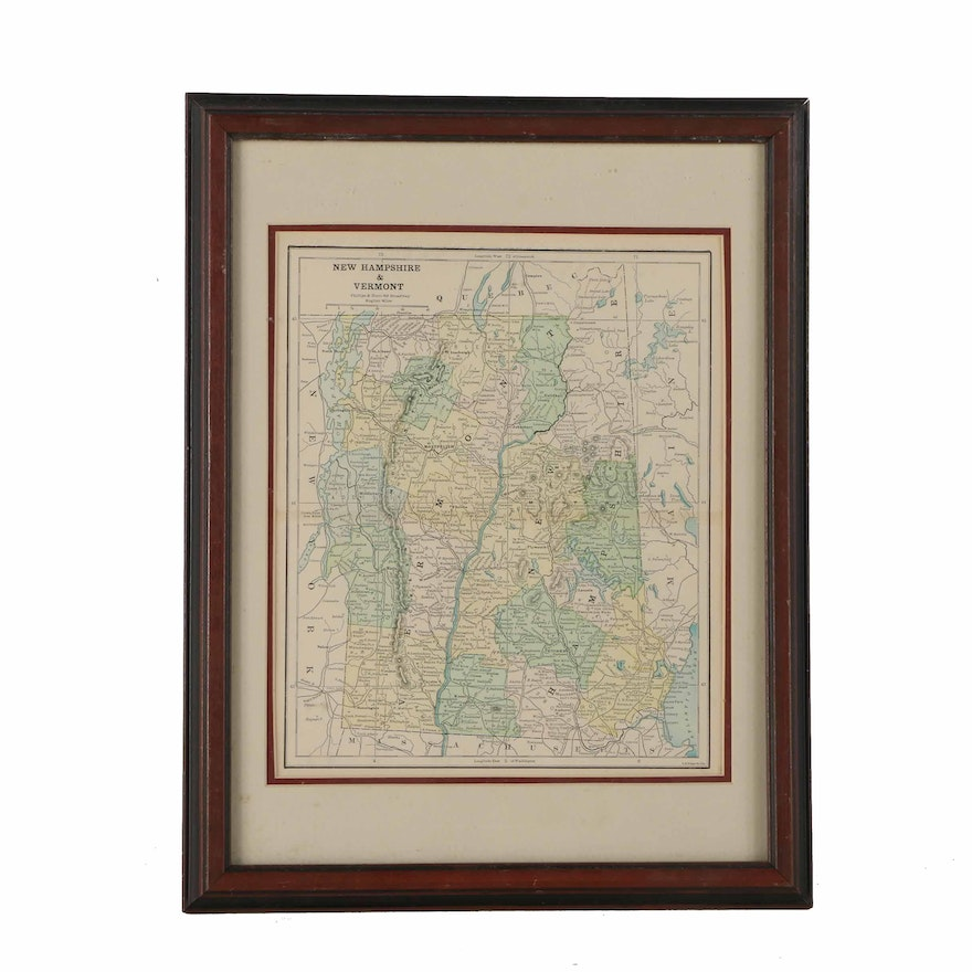 Vintage Lithograph Print On Paper Of A Political Map Of New