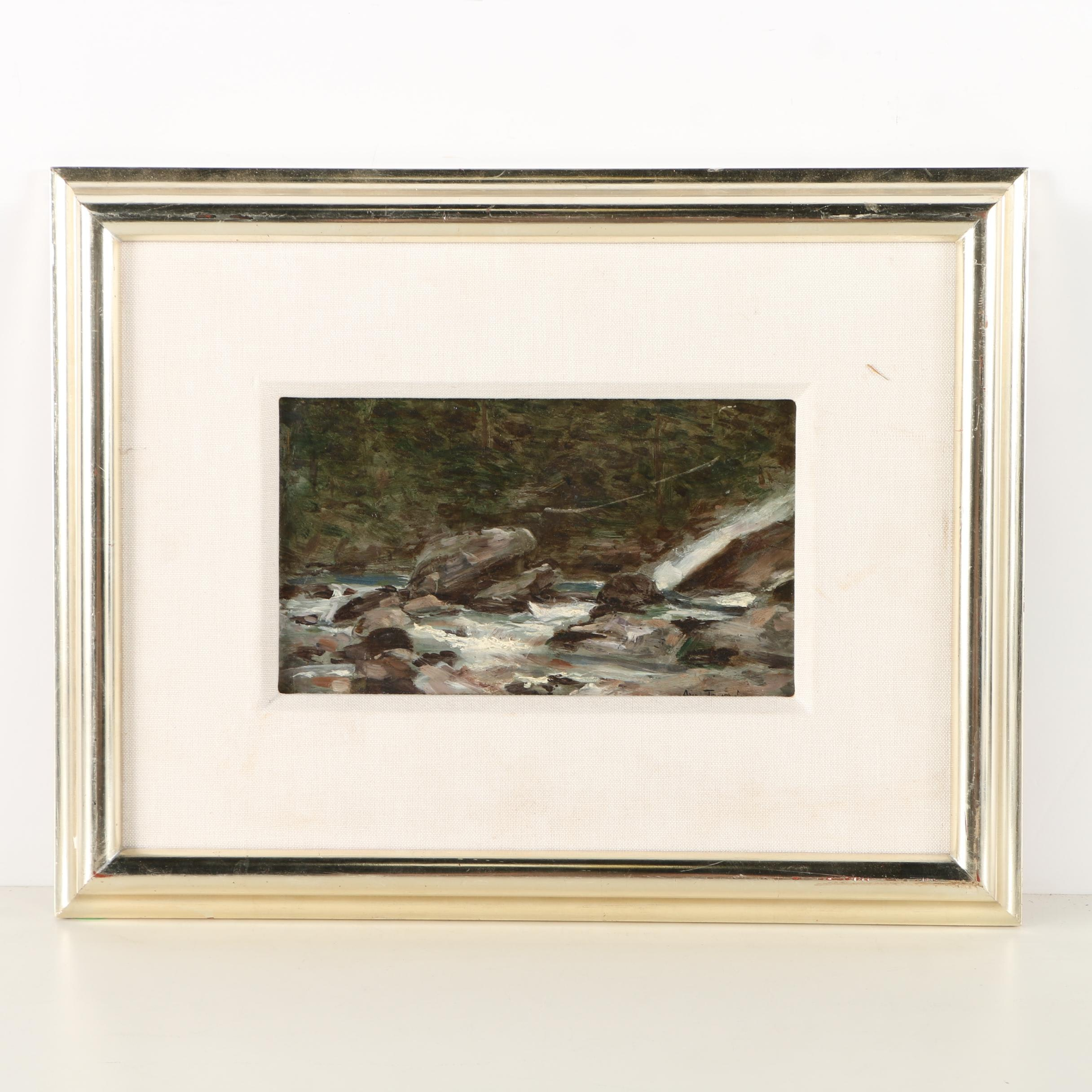 "Auguste J. Trupheme 19th-Century Oil on Panel ""Mountain Stream With Waterfall"""
