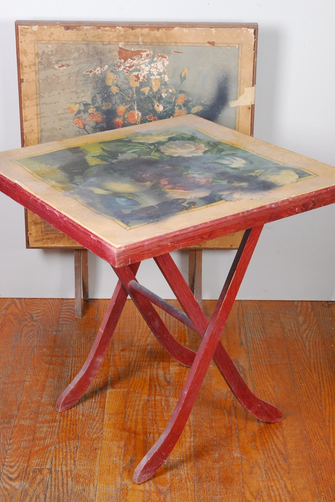 Pair Vintage Painted Paper Topped Wooden Folding Tables Ebth