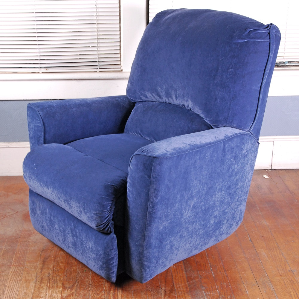 Lane Furniture Blue Velour Recliner Armchair