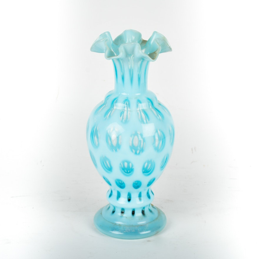 Fenton Blue Coin Dot Glass Vase Ebth