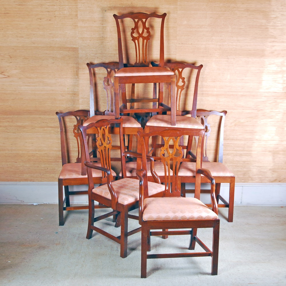 Set of Eight Chippendale Style Dining Chairs