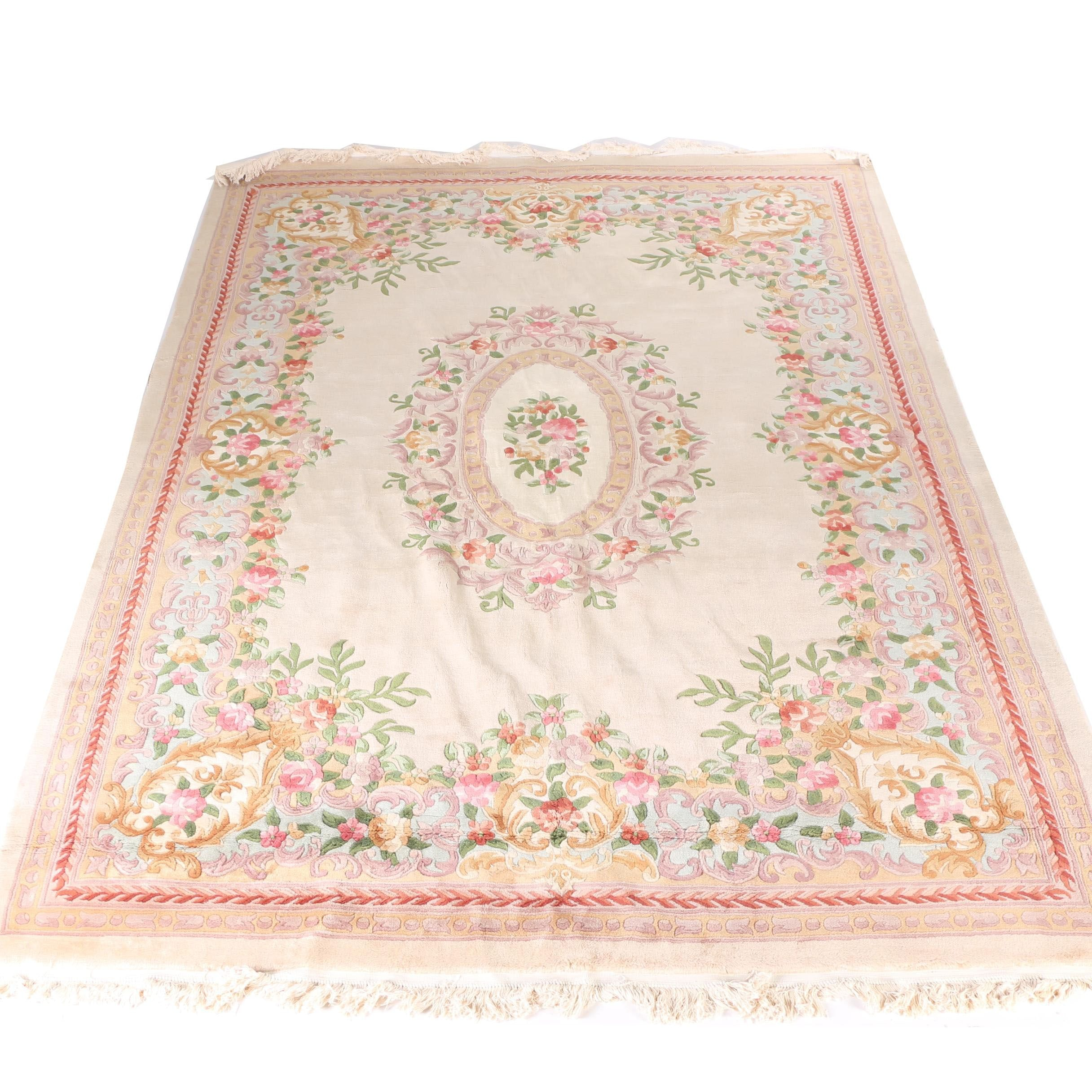 Handmade Aubusson Style Carved Wool Area Rug