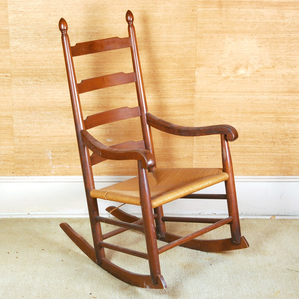 Shaker Style Slat Back Rocking Chair With Rush Seat