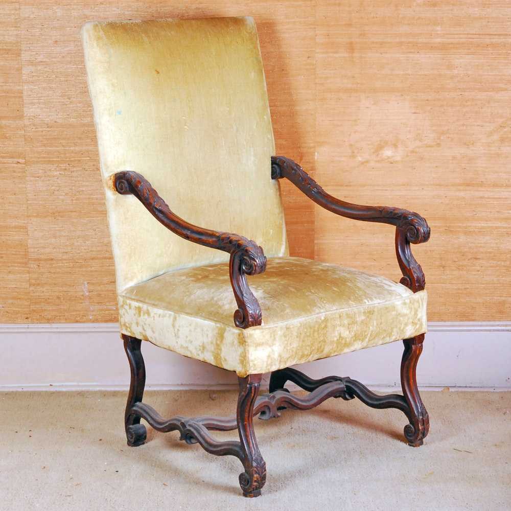 Vintage Ornately Carved Stained Mahogany Armchair